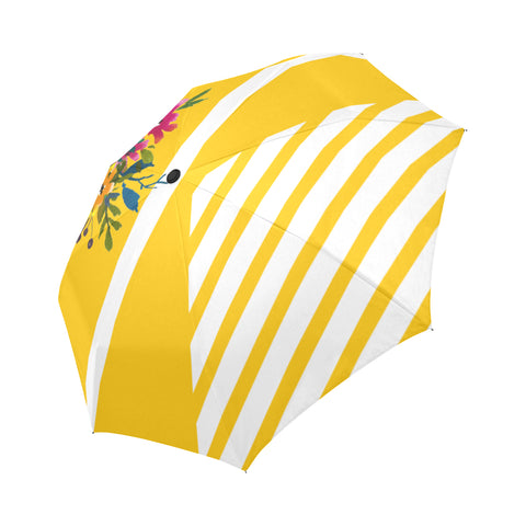 WOW | i Collection Automatic Foldable Yellow Pattern Floral Designer Umbrella