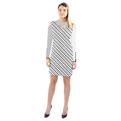 WOW | i Collection Geo Fine Rectangular Halter Off Shoulder Long-Sleeve White Light Grey Dress