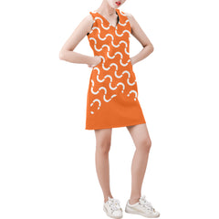 WOW | i Collection Sleeveless Orange & White S-Wave Pattern Trendy Dress