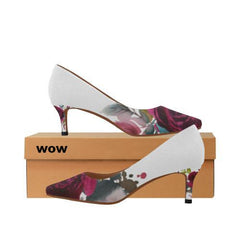 WOW | i Collection Women's Pointy Toe Low Kitten Heel Pumps B&W Colorful Floral White Shoes