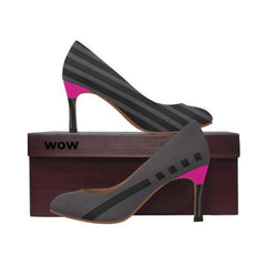 WOW | i Collection Women's Pumps High Heels Trendy Pattern Grey Pink Shoes