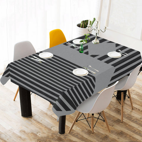 WOW | i Collection Black & Grey Geo Patterns Tablecloth 60x120 Decoration