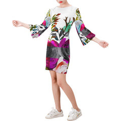 WOW | i Collection Bell Sleeve White Colorful Floral Trendy Dress