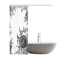 WOW | i Collection B&W Floral Designer 72x84 Shower Curtain