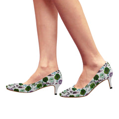 WOW | i Collection Women's Pointy Toe Low Kitten Heel Pumps Colorful Floral White Shoes