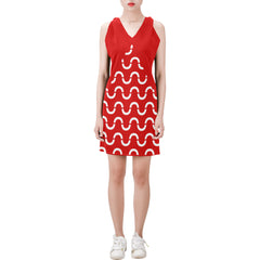 WOW | i Collection Sleeveless Red & White S-Wave Pattern Trendy Dress