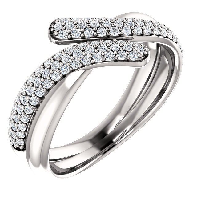WOW Diamond Fashion | 14K White 1/2 CTW Diamond Bypass Pavé Ring
