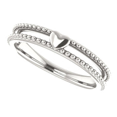 WOW Metal Fashion | Milgrain Stackable Heart Ring