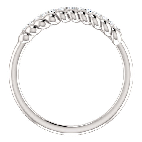 WOW Diamond Fashion | 14K White 1/10 CTW Diamond Rope Ring