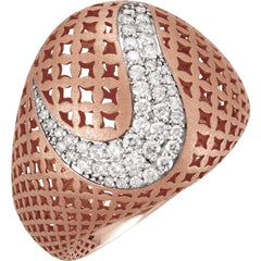 WOW Diamond Fashion | 14K Rose 1/2 CTW Diamond Pierced Style Ring