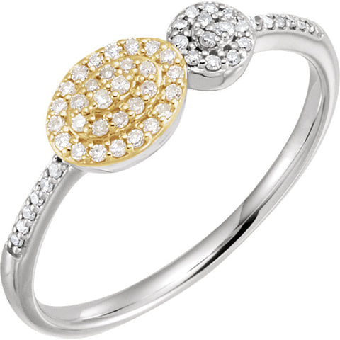 WOW Diamond Fashion | 14K White & Yellow 1/6 CTW Diamond Cluster Ring