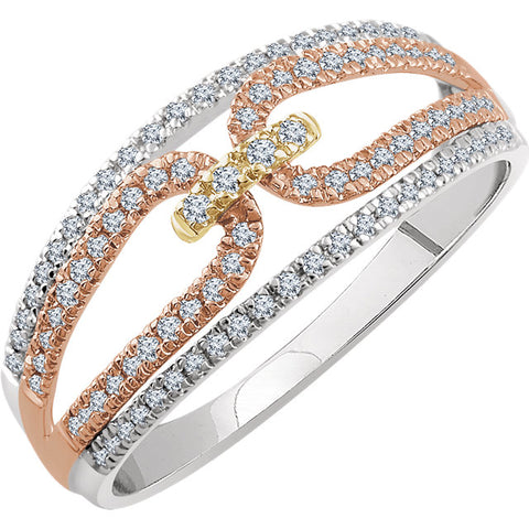 WOW Diamond Fashion | 14K White & Rose & Yellow 1/3 CTW Diamond Ring