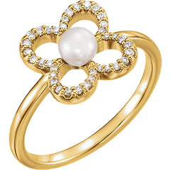 WOW Pearl Fashion | 14K Freshwater Cultured Pearl & 1/6 CTW Diamond Ring