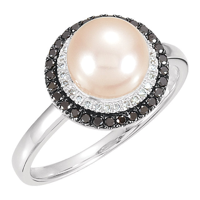 WOW Pearl Fashion | 14K White Freshwater Cultured Pearl 1/4 CTW Diamond Black & White Ring