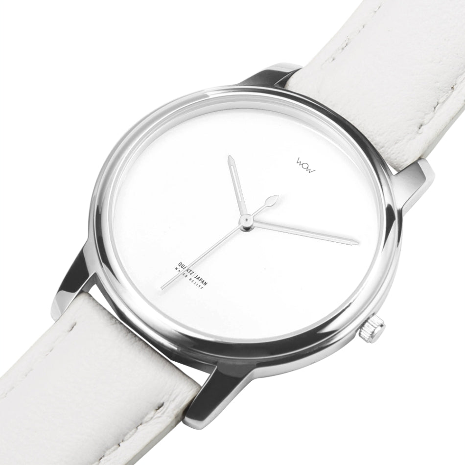 WOW | J Collection Premium Silver White Leather Strap Water-resistant Quartz Watch