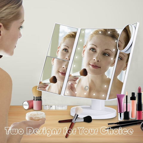 Beautiful Style2 Trifold LED Light Touch Screen Makeup Mirror Station
