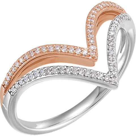 "WOW Diamond Fashion | 14K White & Rose 1/6 CTW Diamond ""V"" Ring"