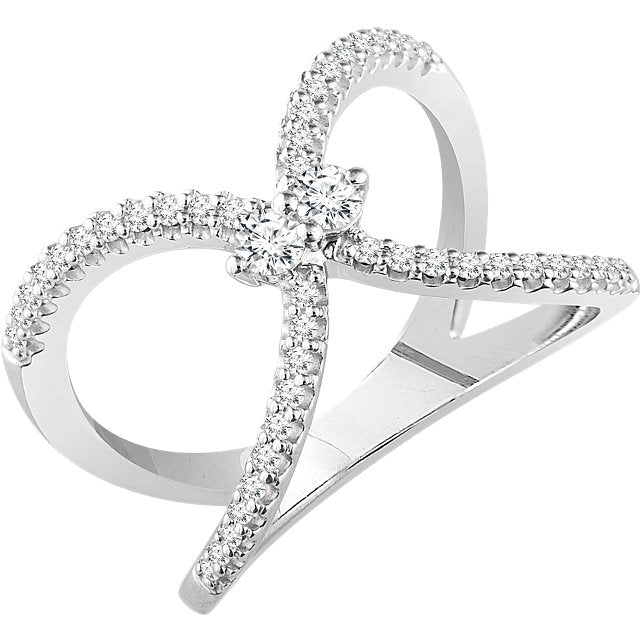 WOW Diamond Fashion | 14K White 3/8 CTW Diamond Negative Space Ring