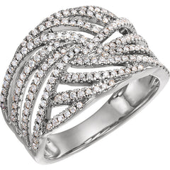 WOW Diamond Fashion | 14K Rose 1/2 CTW Diamond Accented Criss-Cross Ring