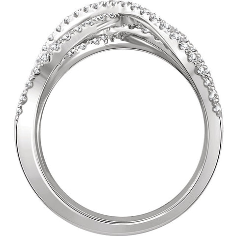 WOW Diamond Fashion | 14K White 9/10 CTW Diamond Criss-Cross Ring
