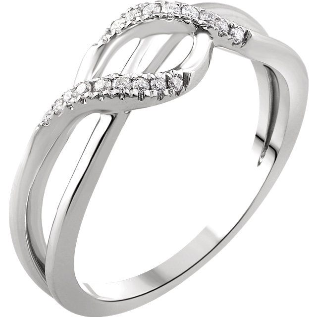 WOW Diamond Fashion | 14K White 1/10 CTW Diamond Criss-Cross Ring