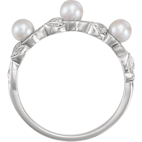 WOW Pearl Fashion | 14K  Pearl & .03 CTW Diamond Stackable Leaf Pattern Ring