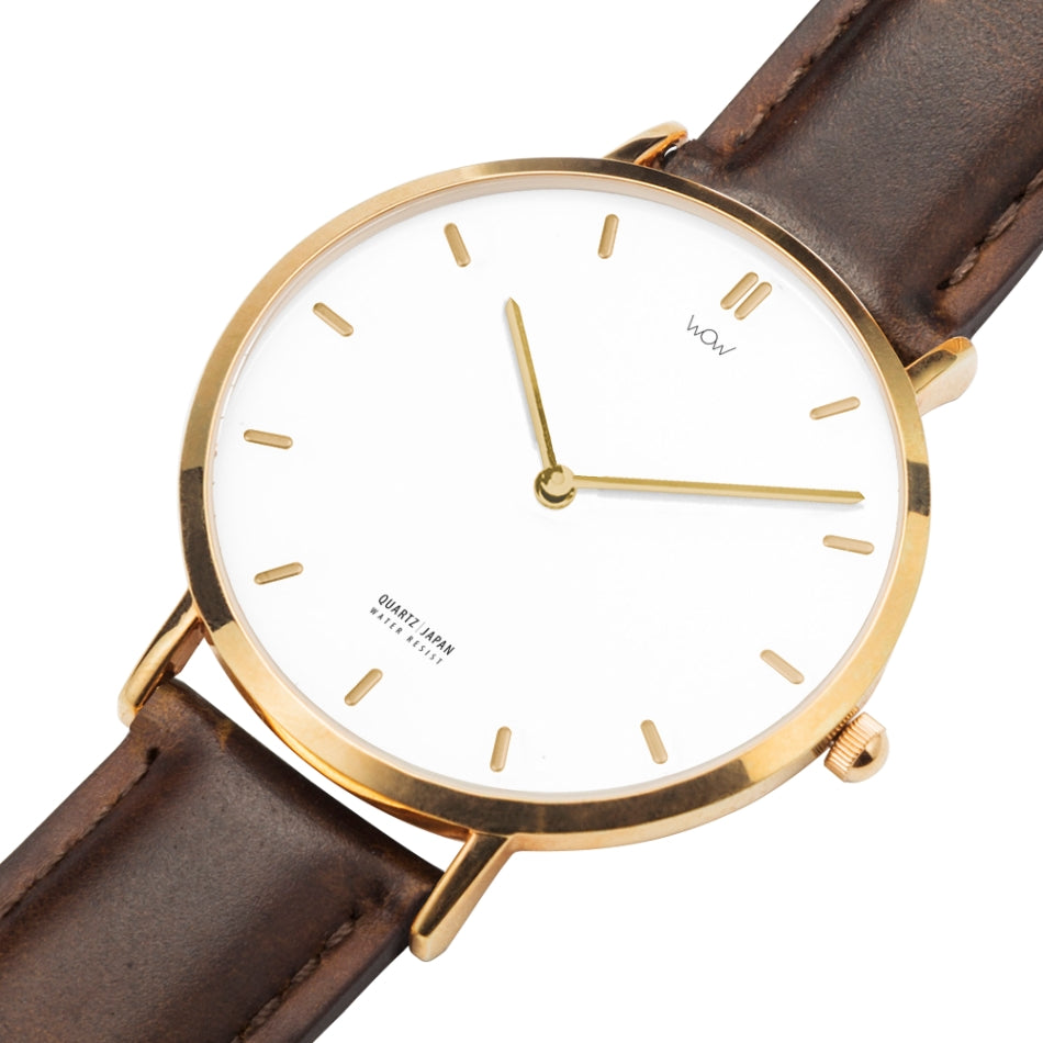 WOW | J Collection Rose Gold Brown Leather Strap Water-resistance Quartz Watch