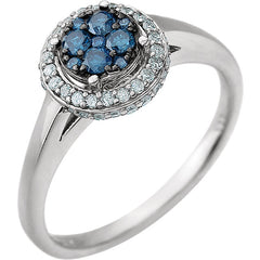 WOW Diamond Fashion | 14K White 3/8 CTW Blue & White Diamond Ring