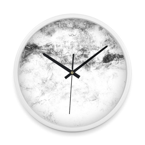 WOW | J Collection 14in White Framed Sweep Movement Mute Marble Wall Clock