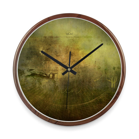 WOW | J Collection Wood Graining 14 Inch Framed Sweep Movement Mute Wall Abstract Clock