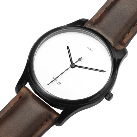 WOW | J Collection Premium Black Brown Leather Water-resistant Quartz Watch