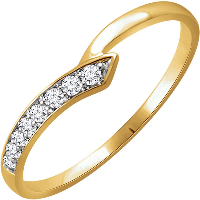 "WOW Diamond Fashion | 14K - 1/10 CTW Diamond Accented ""V"" Curvature Ring"