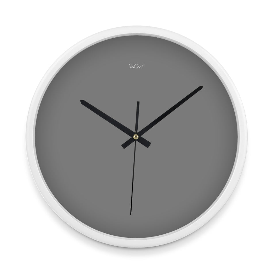 WOW | J Collection 14in White Framed Sweep Movement Mute Wall Grey Face Clock