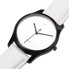 WOW | J Collection Premium Black White Leather Water-resistant Quartz Watch