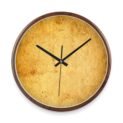 WOW | J Collection Wood Graining 14 Inch Framed Sweep Movement Mute Wall Old Paper Clock