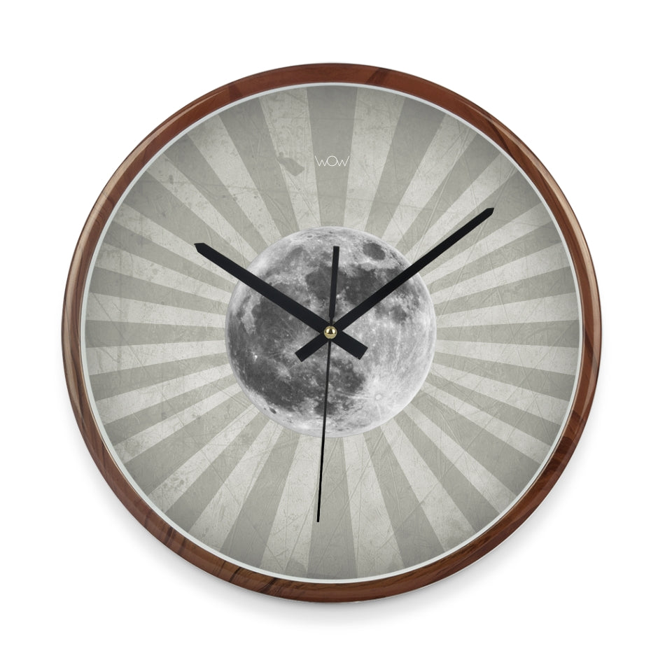 WOW | J Collection Wood Graining 14 Inch Framed Sweep Movement Mute Wall Moon Clock