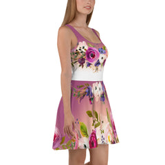 WOW | P Collection Floral White Pink Purple Skater Dress