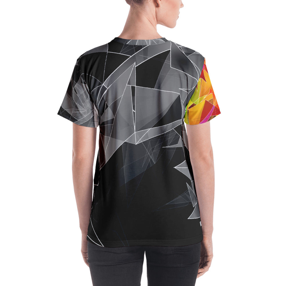 WOW | P Collection Women's B&W Multicolor Geo T-shirt