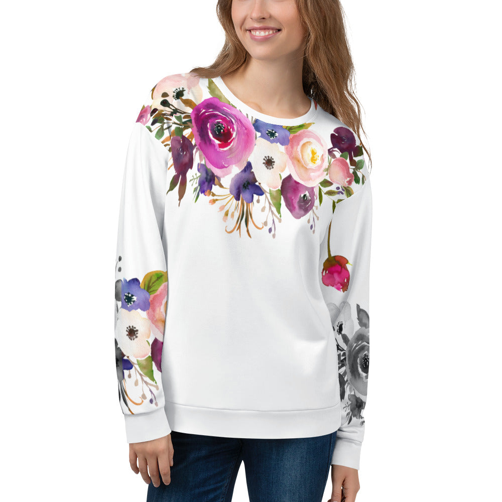 WOW | P Collection Colorful Floral Women's White Sweatshirt