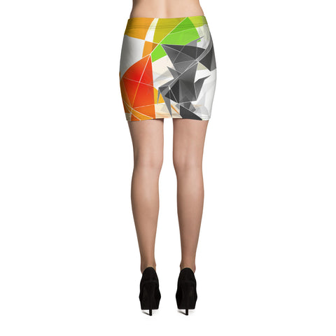WOW | P Collection Black & White & Colorful Geo Design Mini Skirt