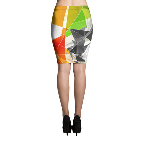 WOW | P Collection Black - White & Colorful Geo Design Pencil Skirt