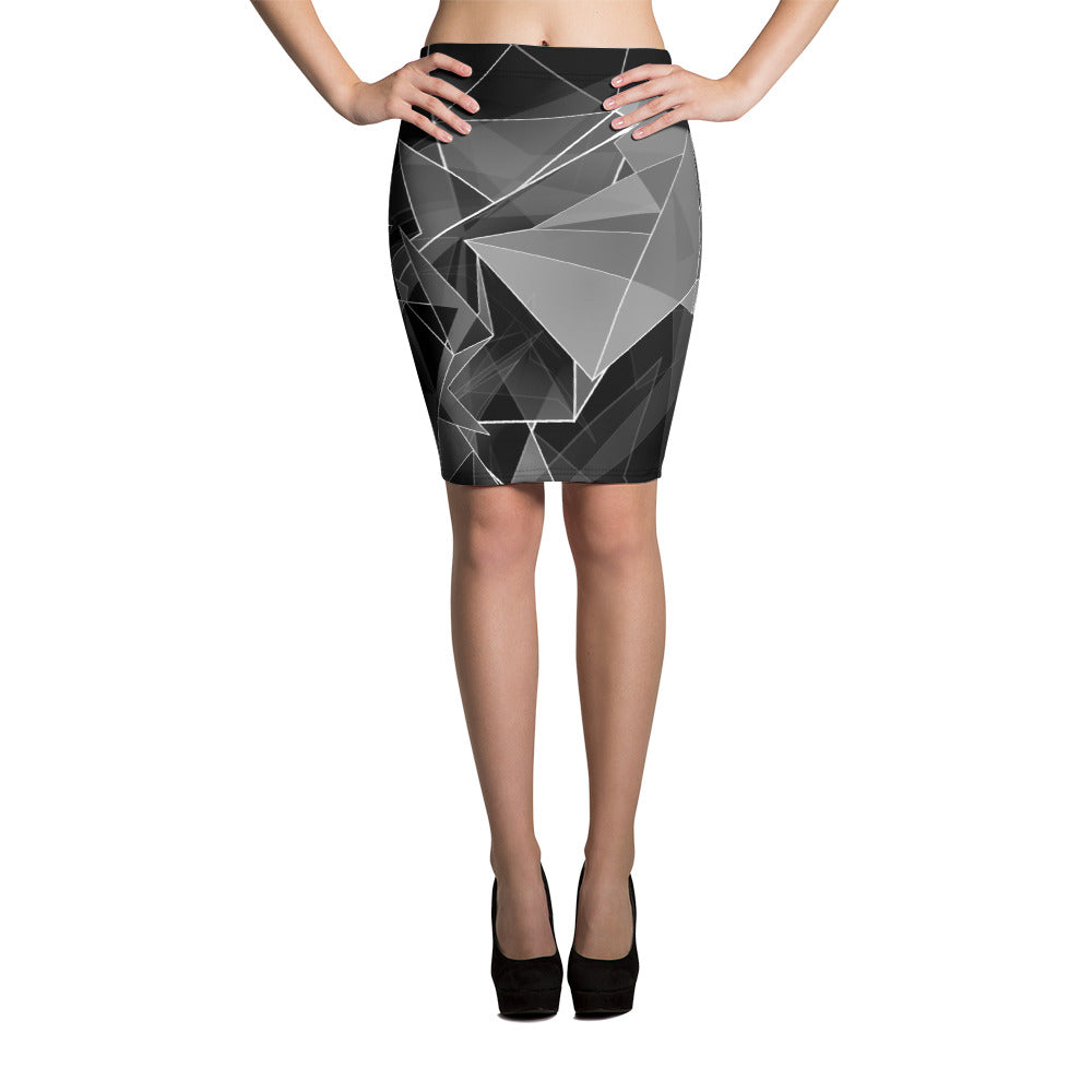 WOW | P Collection Black - White Geo Design Pencil Skirt