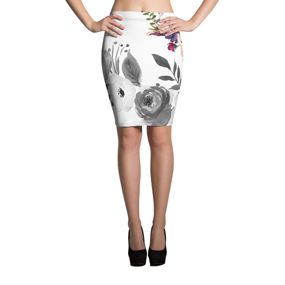 WOW | P Collection Black - White & Color Floral Pencil Skirt