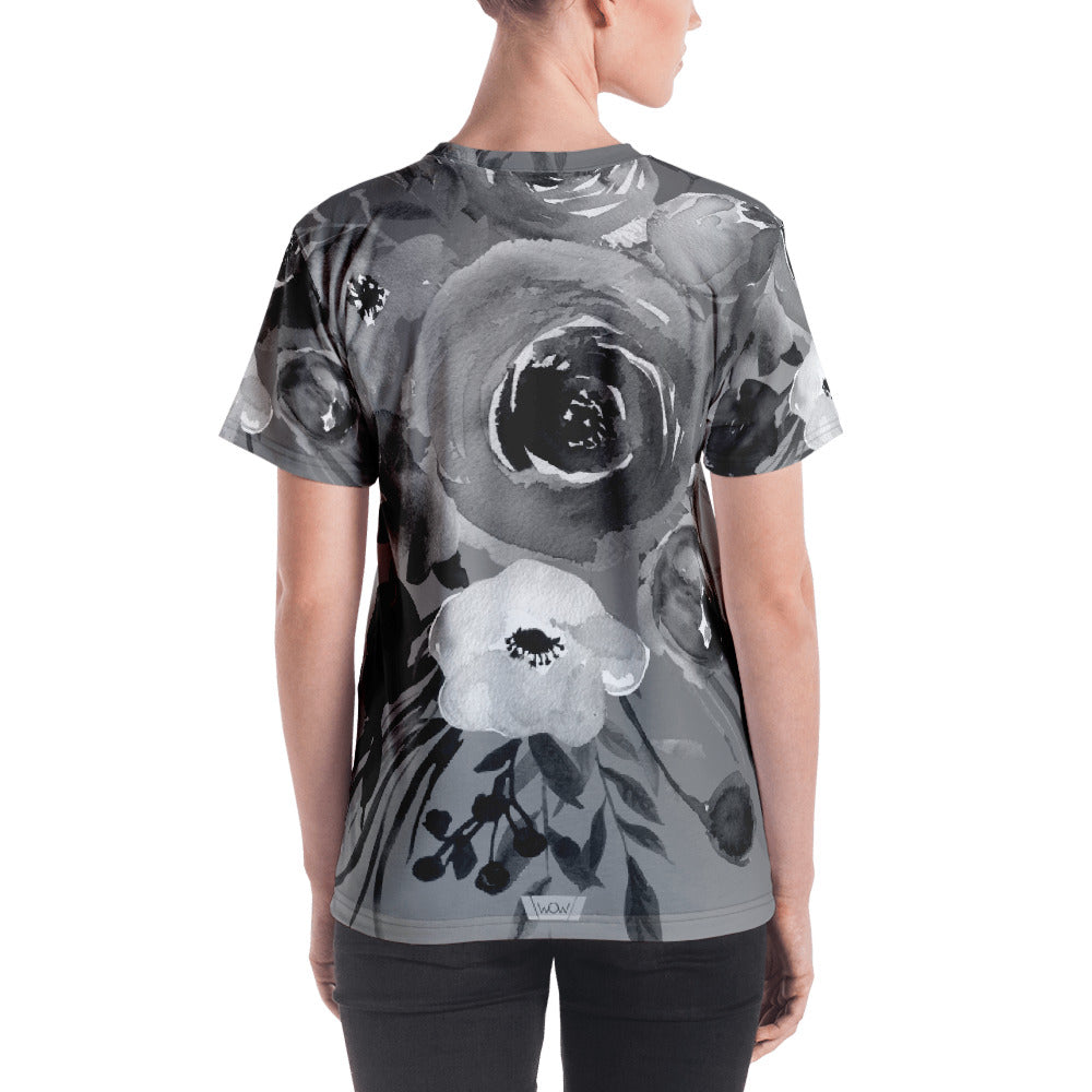 WOW | P Collection Women's B&W Grey Tone Floral Pattern T-shirt