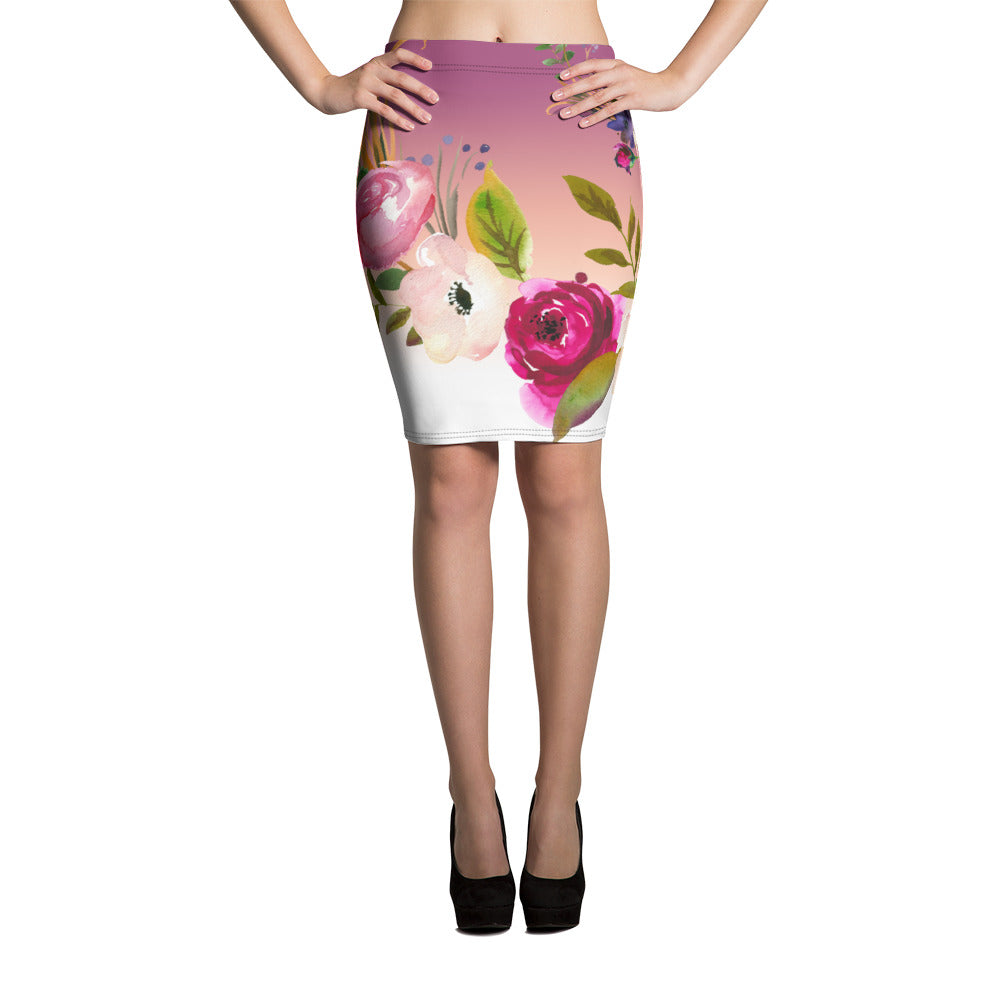 WOW | P Collection White Pink Floral Pencil Skirt