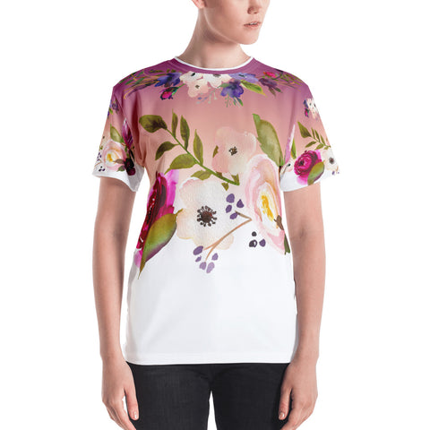 WOW | P Collection Women's Pink & White Floral T-shirt
