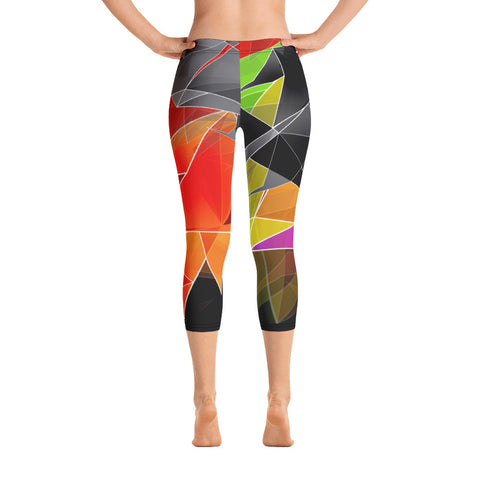 WOW | P Collection Colorful Geometric Design Capri Leggings