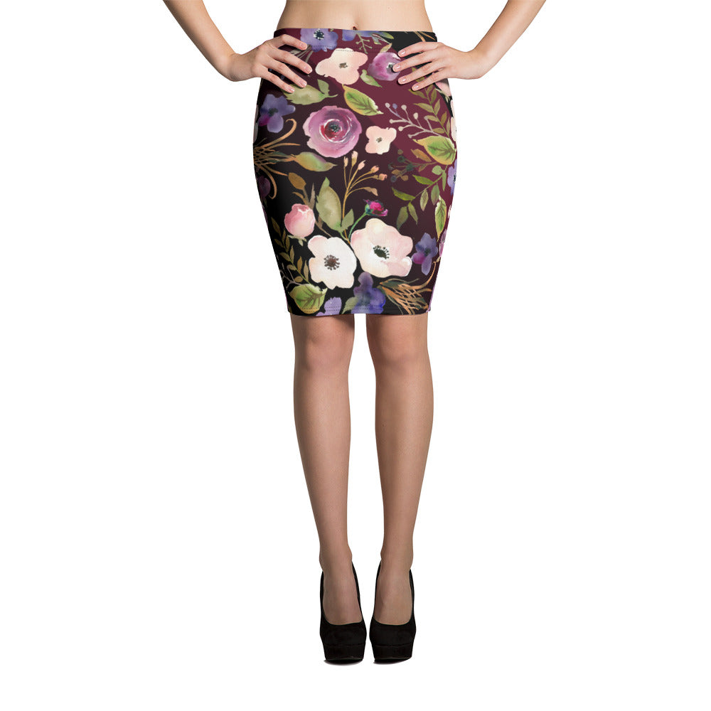 WOW | P Collection Black Floral Pencil Skirt
