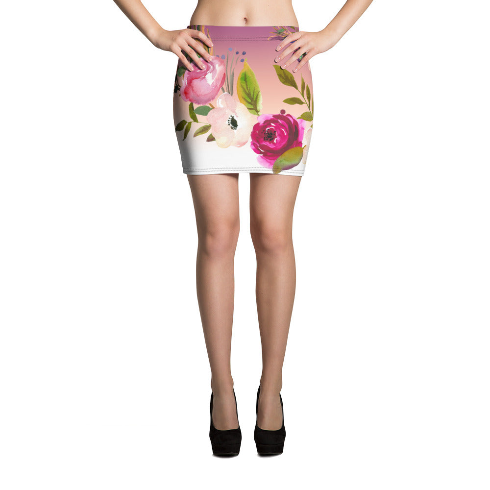 WOW | P Collection Pink Floral Mini Skirt