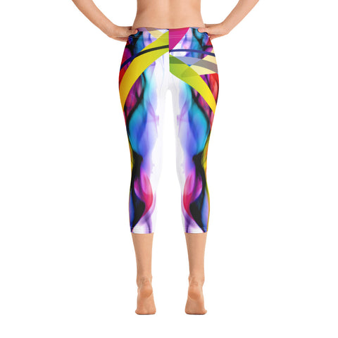 WOW | P Collection Colorful Fire Capri White Leggings